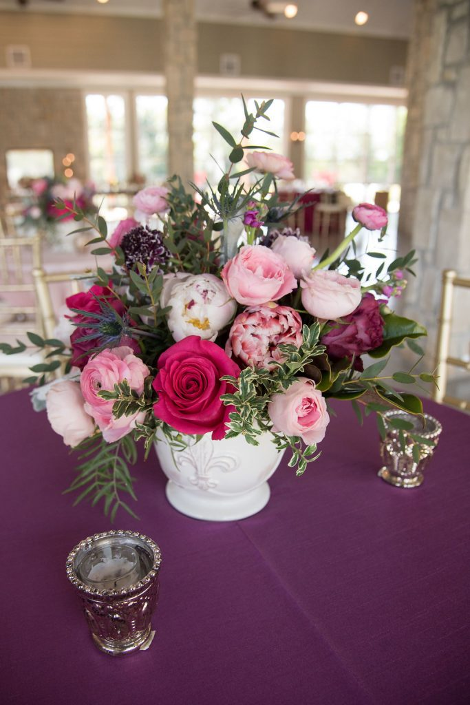 Stonehem Hall Spring Wedding Inspiration with purple and pink cafe tables