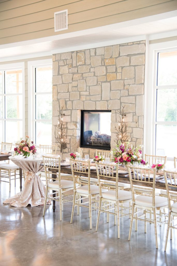Stonehem Hall Spring Wedding Inspiration with pink, blush, purple flowers by Willow Lane and Vestige Event Rentals Farm Tables