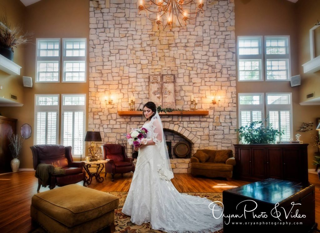 bridal portrait college station wedding venue stone fireplace inn at quarry ridge