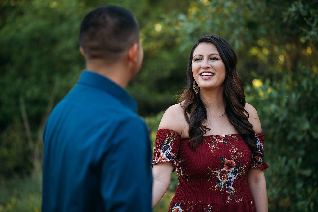 Engagement Outfit Idea Red Maxi Dress Blue Shirt San Angel Photography